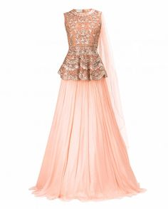 Peach Lengha Set with Peplum Top and Attached Dupatta