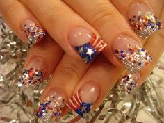 Patriotic Nails,  Summer nails, Ideas for nails, DIY Nails, #SummerNails #NailDesigns