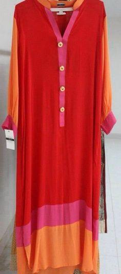 Casual Pakistani Casual Wear, Pakistani Outfits, Indian Outfits, Tunic Designs, Kurta Designs, Indian Attire, Indian Wear, Salwar Kurta, Anarkali