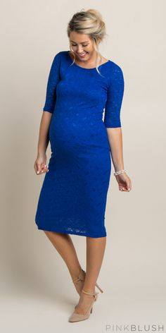 Turn heads this holiday season in this gorgeous lace fitted maternity dress! Our favorite piece for a baby shower outfit