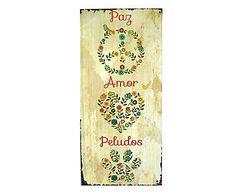 Placa Decorativa Paz Amor e Peludos - 14x30cm