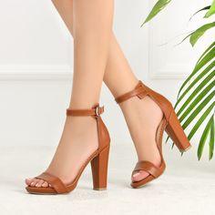 Oyiro Dz Taba Rengi Tek Bantlı Topuklu Ayakkabı #brown #tan #sandals #heels High Heels, Shoes Heels, Flats, Sandals, Office Ladies, Tabata, Chunky Heels, Peep Toe, Footwear