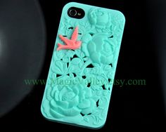 Mint Green Flower Iphone 4 Case with Pink Bird, Fit for Iphone 4, Iphone 4s. $14.99, via Etsy.