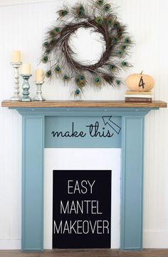 Bulk up your mantel with a removable mantel topper - easy to make and to remove for an easy mantel makeover.
