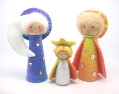 Sun, moon and stars peg gnome ,  Nativity , Waldorf Art, Home decor, nature table