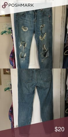 Girlfriend Destroyed Jeans By Mossimo from Target. So cute, just not really my style. Girlfriend fit for a more relaxed day. I have the bottoms rolled so they're about ankle length, but you can unroll them for a full length jean. Size 2/26. Listing as UO for exposure Urban Outfitters Pants