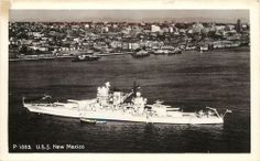 Vintage Real Photo Postcard; Navy USS New Mexico at Seattle WA WWII?