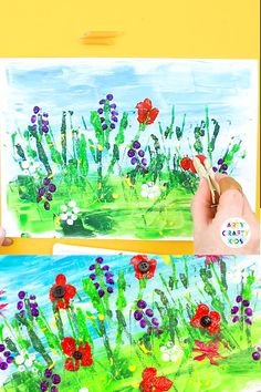 Spring Meadow Art for Kids A fun and tactile Spring Art Project for Kids! using household materials to create beautiful spring flowers. Perfect for children of all ages Spring Art Projects, Spring Crafts For Kids, Spring Flowers Art For Kids, Kid Art Projects, Kids Crafts, Easy Crafts, Art Floral, Art 2nd Grade, Classe D'art