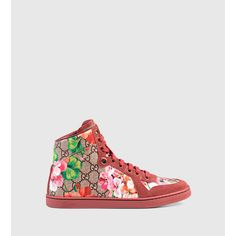 Gucci Coda Gg Blooms High-Top Sneaker ($565) ❤ liked on Polyvore featuring shoes, sneakers, new arrivals, women's shoes, antique shoes, gucci shoes, rose shoes, floral print sneakers and flower print sneakers
