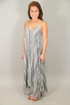 DRESSES > Print > Navy Boho Print Trapeze Hem Maxi Dress