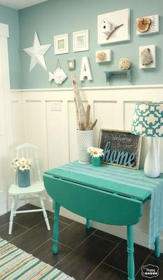Great (fun Pop Of Color For Entry Hall) An Entryway Gallery Wall With A Cottage,  Ocean Theme In Turquoise, Cream And Red