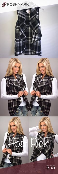 HP  1 MEDIUM LEFT Black White Plaid Vest Pockets + Black & white plaid waterfall vest WITH POCKETS! + Host Pick 10/14/17 by @meow7 but has since been re-listed + Super cute and versatile | easy to wear  + 55% cotton | 40% polyester | 5% wool + Smoke free & pet free home  + No trades   ✨ If you would like any additional photos or if you have any questions... please let me know! Tops