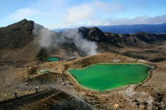 Tongariro, New Zealand's oldest national park, boasts an emerald-green lake. Located near the volcanic sites of New Zealand's central North Island, the lake gets its unique color from ash and rock particles that have seeped into its water.