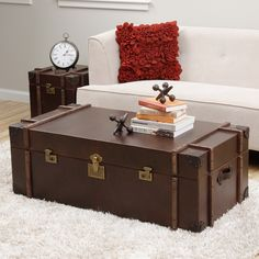 Journey Vintage Tobacco Leather Trunk Side Table Overstock Com Shopping The Best Deals On Coffee Sofa End Tables Trunks Pinterest Ash