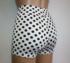 Polka Dot High Waist Booty Shorts in 9 Awesome Colors! Great for School Spirit Days, Cheer, Dance and Everyday Wear! School Spirit Days, Dance Pants, Plus Size Shorts, Roller Derby, Different Fabrics, Clubwear, Leotards, Active Wear, Shorts