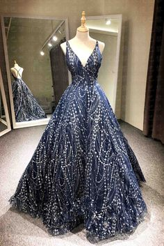 Beaded blue tulle prom dress, v-neck prom dress, long prom dress with straps