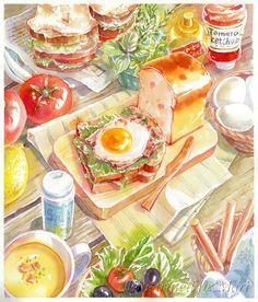 Food Illustrations that will blow your mind - Ateriet Fuchs Illustration, Japon Illustration, Think Food, Love Food, Cute Food Art, Food Sketch, Watercolor Food, Food Painting, Food Wallpaper