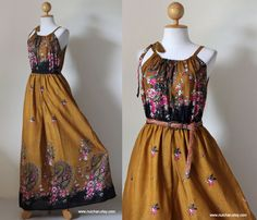 $54.00 Sleeveless Yellow Mustard Paisley Flower Print Maxi Long Summer Dress