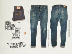 Melker lived in his Sharp Bengts for 16 months and did pretty much everything in them; being a daddy, painting the flat, visiting festivals and going on fishing trips. Get the full story of Melker's denim: http://nj.io/81gO