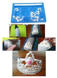 Crown tiara fondant gumpaste cake topper using Wilton mold Fondant Toppers, Fondant Cakes, Cupcake Cakes, Fondant Recipes, Cake Recipes, Cake Decorating Techniques, Cake Decorating Tutorials, Fondant Crown, Crown Cake