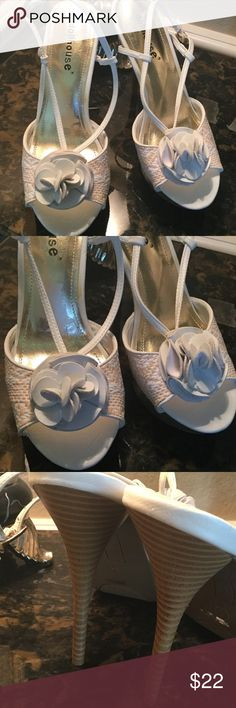 """DOLLHOUSE HEELS! These are some cute and unique spring and summer shoes.  Wear them with a dress, sundress, or other for a fashion statement.  Tan/peach and white lattice look on front, with a cute white bow.  Good condition.  5 1/4"""" heel, with 1"""" platform for comfort.  Size 8 or 38. Dollhouse Shoes"""