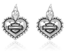 "Harley Davidson® ""SACRED HEART"" post sterling earrings MOD HDE0265 by MOD MOD. $34.99. Includes earring card and a black velvet protective pouch. Constructed entirely of precious sterling silver metal. Harley Davidson officially licensed product. Harley Davidson bar and shield logo with a dangle winged pattern. dangle leverback earrings"