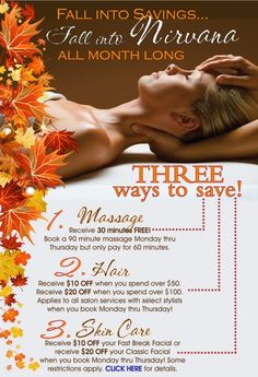 Urban Nirvana is running some great spa and salon discounts ALL OCTOBER LONG!