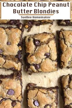 Chocolate Chip Peanut Butter Blondies - SueBee Homemaker - - Chocolate Chip Peanut Butter Blondies are chewy-gooey cookie bars, and are seriously the best. These are simple to make, don't require a mixer, and are done in just 40 minutes or less! Peanut Butter Cookie Bars, Peanut Butter Chocolate Bars, Peanut Butter Desserts, Peanut Butter Chips, Peanut Butter Cookie Recipe, Köstliche Desserts, Cookie Recipes, Easy Fun Desserts, Chocolate Cookie Bars