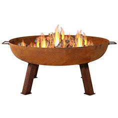 Sunnydaze Cast Iron Outdoor Fire Pit Bowl - 34 Inch Large Round Bonfire Wood Burning Patio & Backyard Firepit for Outside with Portable Fireplace Metal Handles, Rustic Fire Pit Bowl, Fire Pit Area, Fire Bowls, Bonfire Pits, Cast Iron Fire Pit, Orange Cast, Portable Fireplace, Large Fire Pit, Country Homes Decor
