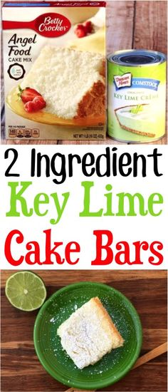 These cake bars are so easy to make and are just 2 ingredients! These cake bars are so easy to make and are just 2 ingredients! Key Lime Desserts, Köstliche Desserts, Delicious Desserts, Yummy Food, Autumn Desserts, Key Lime Kuchen, Key Lime Pie Rezept, Lime Bar Recipes