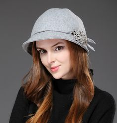 Fashion wool bucket hat for women winter flower decoration aef019acd7
