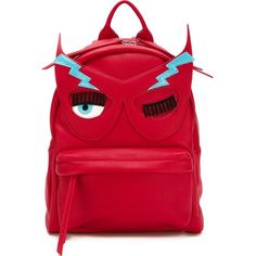 Chiara Ferragni Flirting Backpack ($282) ❤ liked on Polyvore featuring bags, backpacks, red, leather zip backpack, leather bags, leather daypack, leather backpack and day pack backpack
