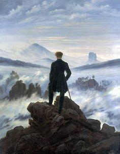 """Das Gemälde """"Wanderer über dem Nebelmeer"""", von Caspar David Friedrich 1818 gemalt, wurde zum Symbol für Einsamkeit und Todesahnung, für Weite, Abgrund und Naturverklärung. 2011 wählte die Deutsche Post dieses Motiv, um den Maler der deutschen Romantik mit einer Sonderbriefmarke zu ehren."""