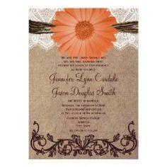 Rustic Peach Coral Daisy Flower Wedding Invitation #wedding #peach #rustic