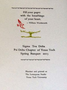 The banquet cards hand-printed for the Sigma Tau Delta - Psi Delta chapter's end-of-the-year banquet.