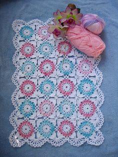 Granny Square American girl doll blanket...Crochet 18 inches doll blanket....