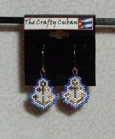 Silver Anchor Beaded Earrings NAVY by TheCraftyCuban on Etsy