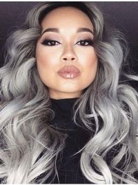 High Quality Long Curly Fashional Grey Wigs