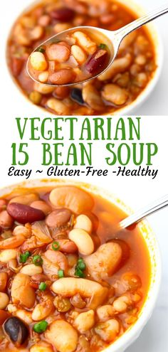 A simple, healthy soup made from 15 beans for a hearty meal. Low Calorie Vegetarian Recipes, Vegan Crockpot Recipes, Cooking Recipes, Healthy Recipes, Lean Recipes, Vegetarian Meals, Salad Recipes, Healthy Hearty Soup, Hearty Soup Recipes