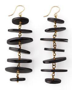 Y1QE6 Ashley Pittman Kuyuga Multi-Tiered Disk Earrings, Dark Horn
