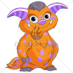 Illustration of very cute spotted monster
