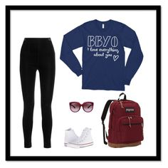 """""""""""BBYO i love everything about you"""" by MadEDesignsStudio"""" by madedesigns ❤ liked on Polyvore featuring Balmain, Converse, JanSport and Bottega Veneta"""