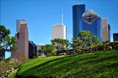 Eleanor Tinsley Park with Downtown Houston skyline