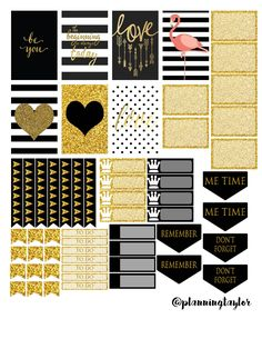 Something glittery for all of you! Follow me on Instagram @planningtaylor for more updates! Free Printable- Mambi happy planner, gold and black, glitter, Posh