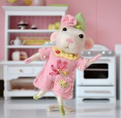 Angelina The Dancing Needle Felted Mouse