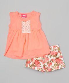 Look what I found on #zulily! Neon Peach & White Floral Top & Shorts - Toddler #zulilyfinds