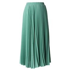 Green Pleated Maxi Skirt ($50) ❤ liked on Polyvore