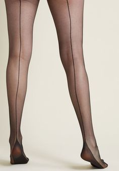 Whether you want to style these sheer black tights under high-waisted shorts and a sailorette top, a polka-dotted A-line and cherry-red heels, or with lacy. Black Stockings, Nylon Stockings, Bas Sexy, Sexy Legs And Heels, Red Heels, Pantyhose Heels, Black Pantyhose, Stocking Tights, Fashion Socks