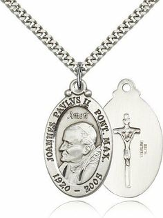 Pope John Paul II Medal, Sterling Silver Bliss. $59.49. Sterling Silver. Includes 24 inch stainless steel heavy curb chain. Made in USA. Size 1 1/8 inch x 3/4 inch