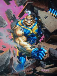 Strong Guy by Nelson! ~ X-Men Ultra Fleer trading card painting Marvel Comic Character, Comic Book Characters, Comic Books Art, Comic Art, Book Art, Marvel Comics Art, Marvel Heroes, Painting Gallery, Art Gallery